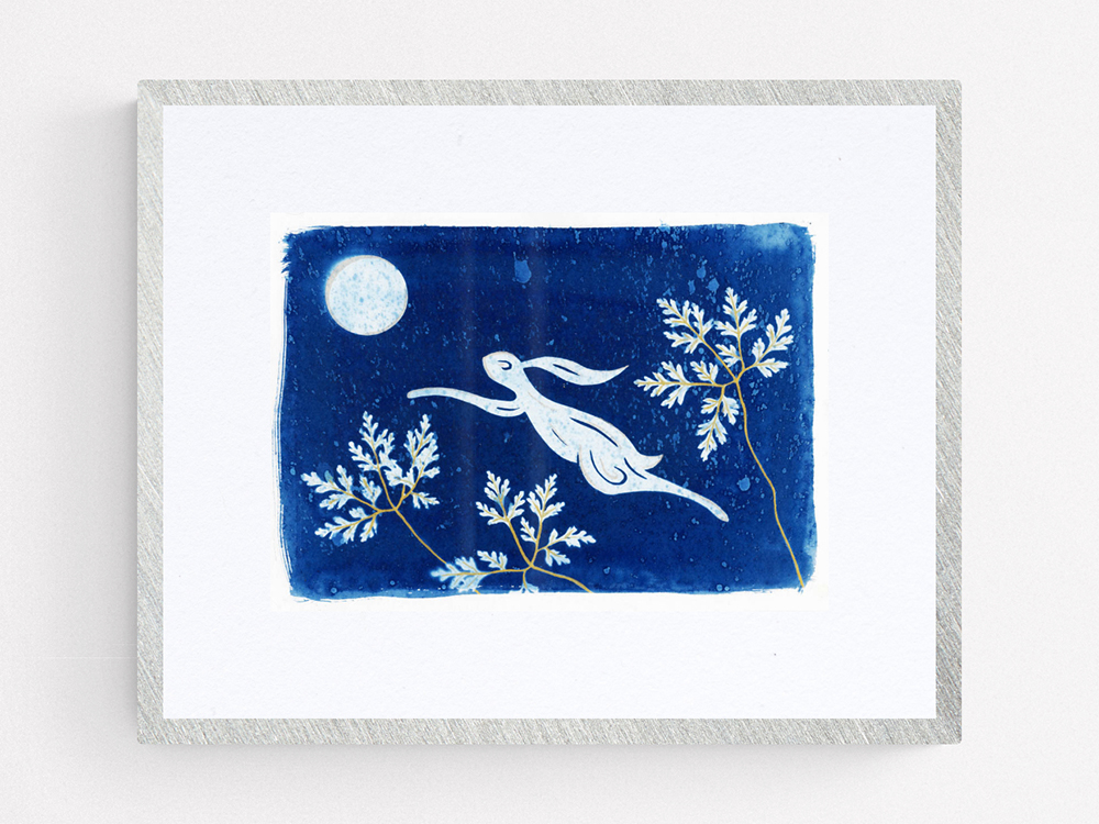 Leaping Hare Original Cyanotype hand embellished with silver and gold.